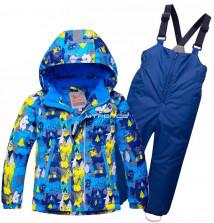 Купить оптом костюм горнолыжный детский синего цвета 8711S в интернет магазине MTFORCE.RU
