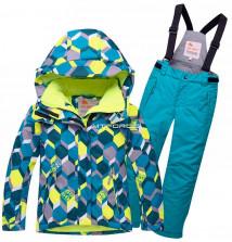 Купить оптом костюм горнолыжный подростковый бирюзового цвета 8712Br в интернет магазине MTFORCE.RU
