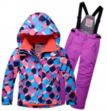 Купить оптом костюм горнолыжный подростковый фиолетового цвета 8712F в интернет магазине MTFORCE.RU