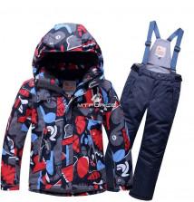 Купить оптом костюм горнолыжный для мальчика серого цвета 8713Sr в интернет магазине MTFORCE.RU
