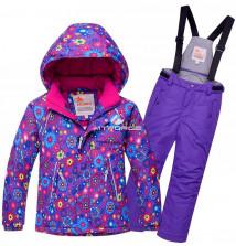 Купить оптом костюм горнолыжный для девочки фиолетового цвета 8714F в интернет магазине MTFORCE.RU