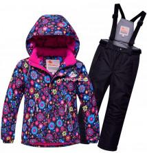 Купить оптом костюм горнолыжный для девочки черного цвета 8714Ch в интернет магазине MTFORCE.RU