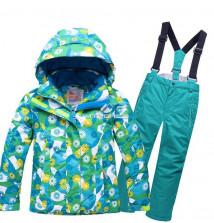 Купить оптом костюм горнолыжный для девочки бирюзового цвета 8719Br в интернет магазине MTFORCE.RU