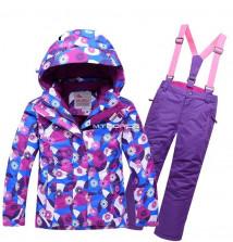 Купить оптом костюм горнолыжный для девочки фиолетового цвета 8719F в интернет магазине MTFORCE.RU