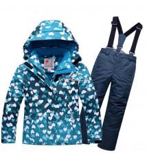 Купить оптом костюм горнолыжный для девочки бирюзового цвета 8726Br в интернет магазине MTFORCE.RU