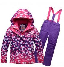 Купить оптом костюм горнолыжный для девочки фиолетового цвета 8726F в интернет магазине MTFORCE.RU