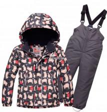 Купить оптом костюм горнолыжный детский темно-серого цвета 8727TC в интернет магазине MTFORCE.RU