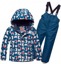 Купить оптом костюм горнолыжный детский темно-синего цвета 8727TS в интернет магазине MTFORCE.RU