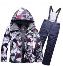 Купить оптом костюм горнолыжный для мальчика серого цвета 8728Sr в интернет магазине MTFORCE.RU