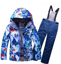 Купить оптом костюм горнолыжный для мальчика синего цвета 8728S в интернет магазине MTFORCE.RU