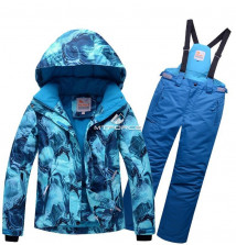 Купить оптом костюм горнолыжный для девочки синего цвета 8729S в интернет магазине MTFORCE.RU