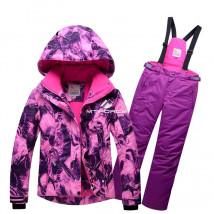 Купить оптом костюм горнолыжный для девочки розового цвета 8729R в интернет магазине MTFORCE.RU