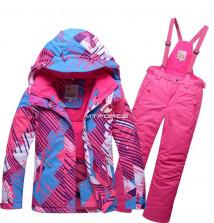 Купить оптом костюм горнолыжный для девочки розового цвета 8730R в интернет магазине MTFORCE.RU