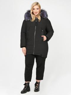 Купить оптом женскую зимнюю молодежную куртку большого размера черного цвета в интернет магазине MTFORCE 88-953_701Ch