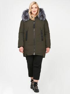 Купить оптом женскую зимнюю молодежную куртку большого размера цвета хаки в интернет магазине MTFORCE 88-953_8Kh