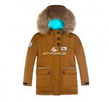 Купить оптом куртку парку зимнию подростковую для мальчика коричневого цвета 8832K в интернет магазине MTFORCE.RU