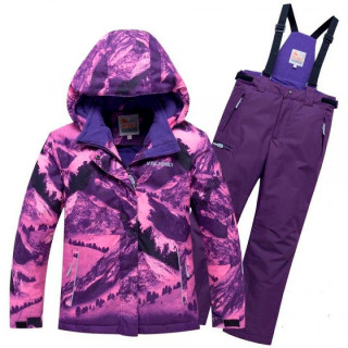 Подростковый для девочки зимний костюм горнолыжный фиолетового цвета купить оптом в интернет магазине MTFORCE 8918F