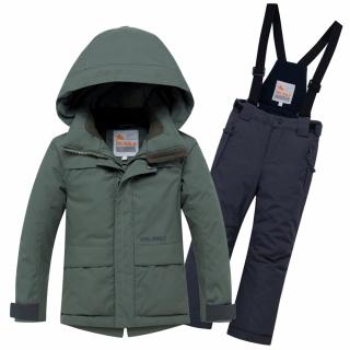 Горнолыжный костюм подростковый для мальчика зимний цвета хаки купить оптом в интернет магазине MTFORCE 8921Kh