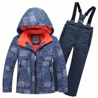 Горнолыжный костюм подростковый для мальчика зимний синего цвета купить оптом в интернет магазине MTFORCE 8923S