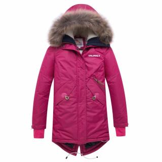 Купить оптом подростковую для девочки зимнюю парку малинового цвета в интернет магазине MTFORCE 8934M