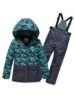 Горнолыжный костюм для мальчика зимний темно-зеленого цвета купить оптом в интернет магазине MTFORCE 9015TZ