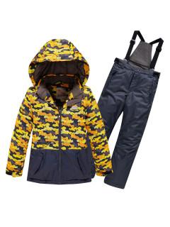 Подростковый для девочки зимний костюм горнолыжный желтого цвета купить оптом в интернет магазине MTFORCE 9016J