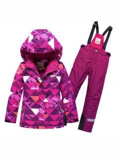 Горнолыжный костюм детский зимний малинового цвета купить оптом в интернет магазине MTFORCE 9018M