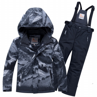 Подростковый для мальчика зимний костюм горнолыжный серого цвета купить оптом в интернет магазине MTFORCE 9021Sr