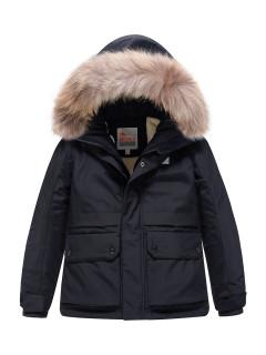 Купить оптом подростковую для мальчика зимнюю парку черного цвета в интернет магазине MTFORCE 9033Ch