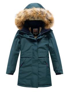 Купить оптом подростковую для девочки зимнюю парку темно-зеленого цвета в интернет магазине MTFORCE 9036TZ