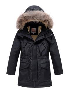 Купить оптом подростковую для мальчика зимнюю парку черного цвета в интернет магазине MTFORCE 9037Ch