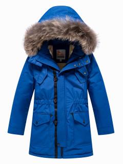 Купить оптом подростковую для мальчика зимнюю парку синего цвета в интернет магазине MTFORCE 9037S