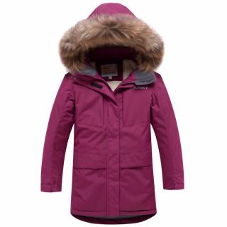 Купить оптом подростковую для девочки зимнюю парку малинового цвета в интернет магазине MTFORCE 9038M