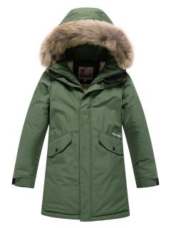 Купить оптом подростковую для мальчика зимнюю парку цвета хаки в интернет магазине MTFORCE 9039Kh