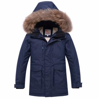 Купить оптом подростковую для мальчика зимнюю парку темно-синего цвета в интернет магазине MTFORCE 9041TS