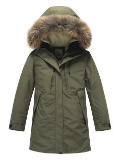 Купить оптом подростковую для девочки зимнюю парку цвета хаки в интернет магазине MTFORCE 9042Kh