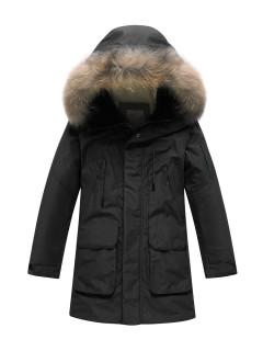 Купить оптом подростковую для мальчика зимнюю парку черного цвета в интернет магазине MTFORCE 90431Ch