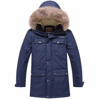 Купить оптом подростковую для мальчика зимнюю парку темно-синего цвета в интернет магазине MTFORCE 9045Kh