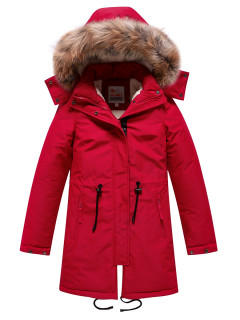 Купить оптом подростковую для девочки зимнюю парку красного цвета в интернет магазине MTFORCE 9046Kr
