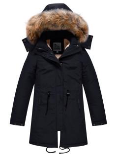 Купить оптом подростковую для девочки зимнюю парку черного цвета в интернет магазине MTFORCE 9046Ch