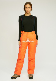 Горнолыжные брюки женские зимние оранжевого цвета купить оптом в интернет магазине MTFORCE 905O