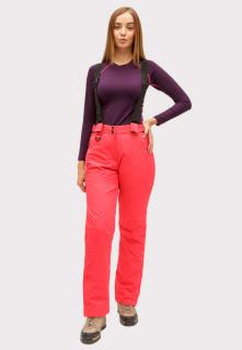 Горнолыжные брюки женские зимние большого размера малинового цвета купить оптом в интернет магазине MTFORCE 1878М