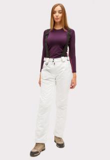 Купить оптом брюки горнолыжные женские белого цвета 905Bl в интернет магазине MTFORCE.RU