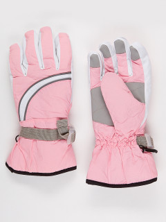 Горнолыжные перчатки подростковые для девочки зимние розового цвета купить оптом в интернет магазине MTFORCE 910R
