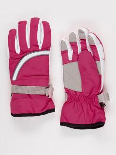 Горнолыжные перчатки подростковые для девочки зимние малинового цвета купить оптом в интернет магазине MTFORCE 910M