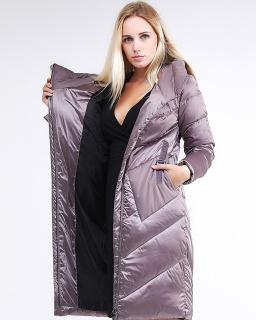 Купить оптом женскую зимнюю классику куртку с капюшоном бежевого цвета в интернет магазине MTFORCE 9102_12B
