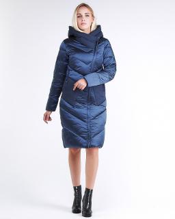 Купить оптом женскую зимнюю классику куртку с капюшоном темно-синего цвета в интернет магазине MTFORCE 9102_22TS