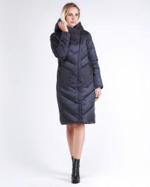 Купить оптом женскую зимнюю классику куртку с капюшоном темно-серого цвета в интернет магазине MTFORCE 9102_29TС