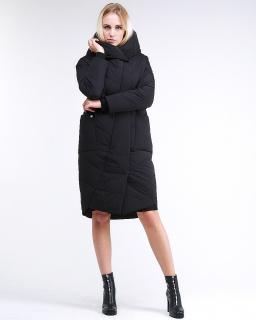 Купить оптом женскую зимнюю молодежную куртку стеганную черного цвета в интернет магазине MTFORCE 9105_01Ch
