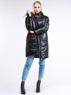 Купить оптом женскую зимнюю молодежную куртку с капюшоном черного цвета в интернет магазине MTFORCE 9131_01Ch